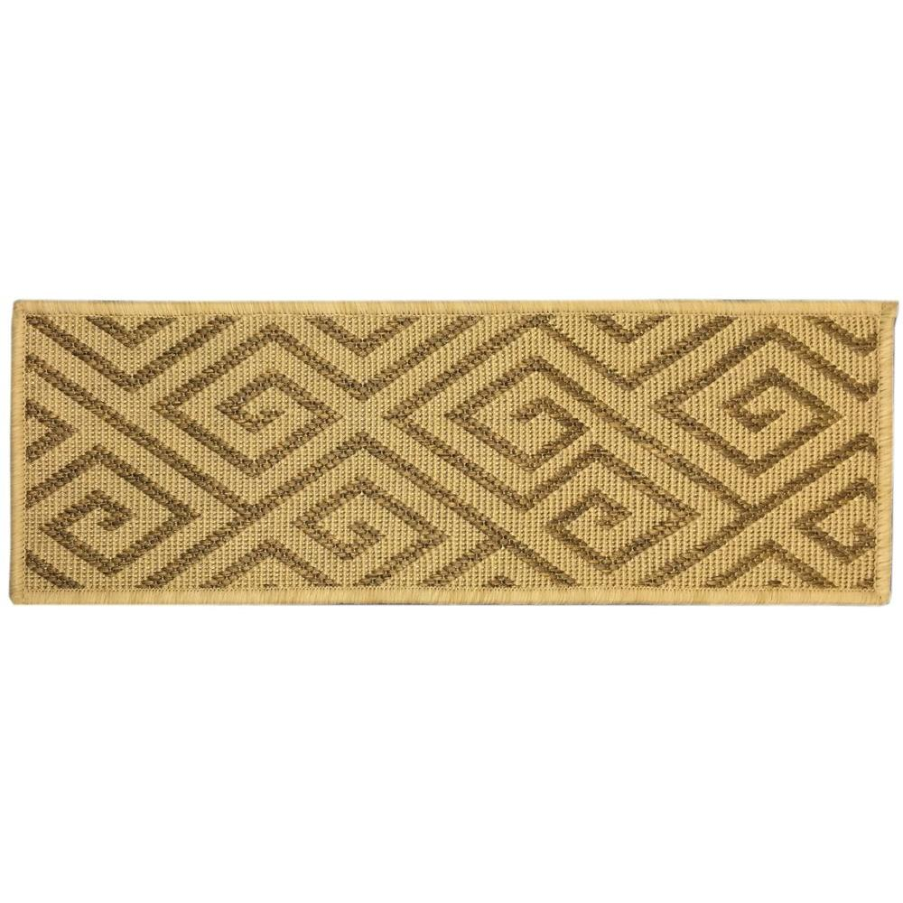Ottomanson Jardin Collection Geometric Design Beige 9 in. x 26 in ...