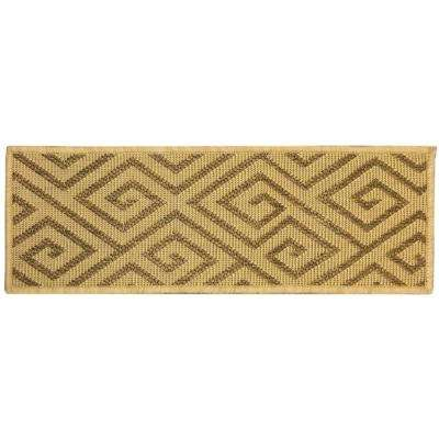 Jardin Collection Geometric Design Beige 9 in. x 26 in. Indoor/Outdoor Carpet Stair Tread Cover (Set of 14)