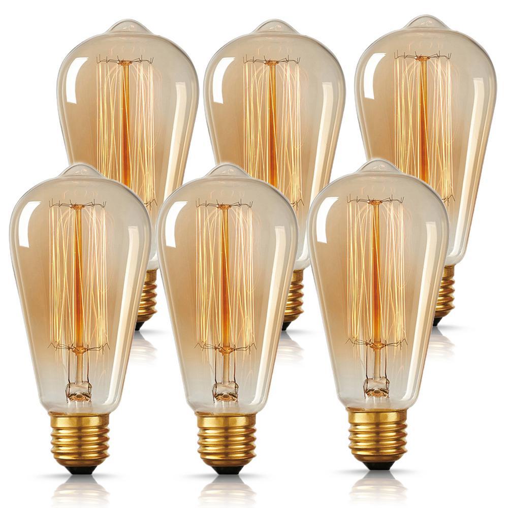 60-Watt ST64 E26 Edison Incandescent Light Bulb (6-Pack)