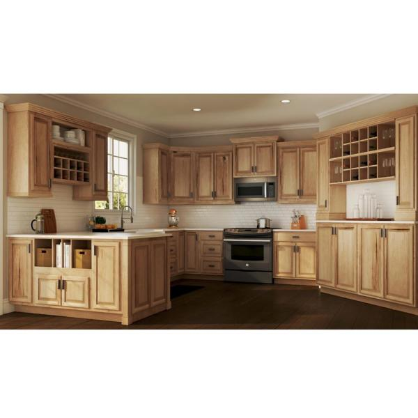 Hampton Bay Hampton Assembled 21x30x12 In Wall Kitchen Cabinet In Natural Hickory Kw2130 Nhk The Home Depot