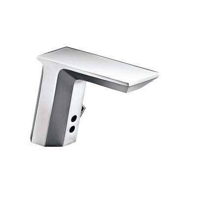 Geometric Battery-Powered Single Hole Touchless Commercial Bathroom Faucet in Polished Chrome