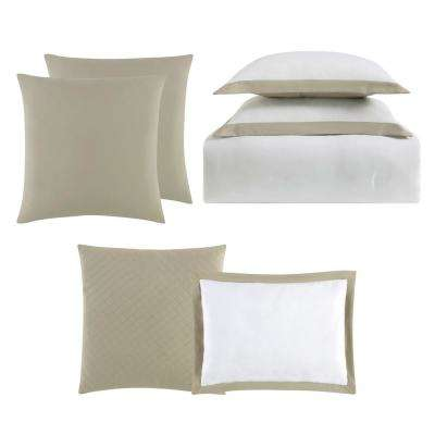 Everyday Hotel Border White and Khaki 7 Piece Full / Queen Comforter Set