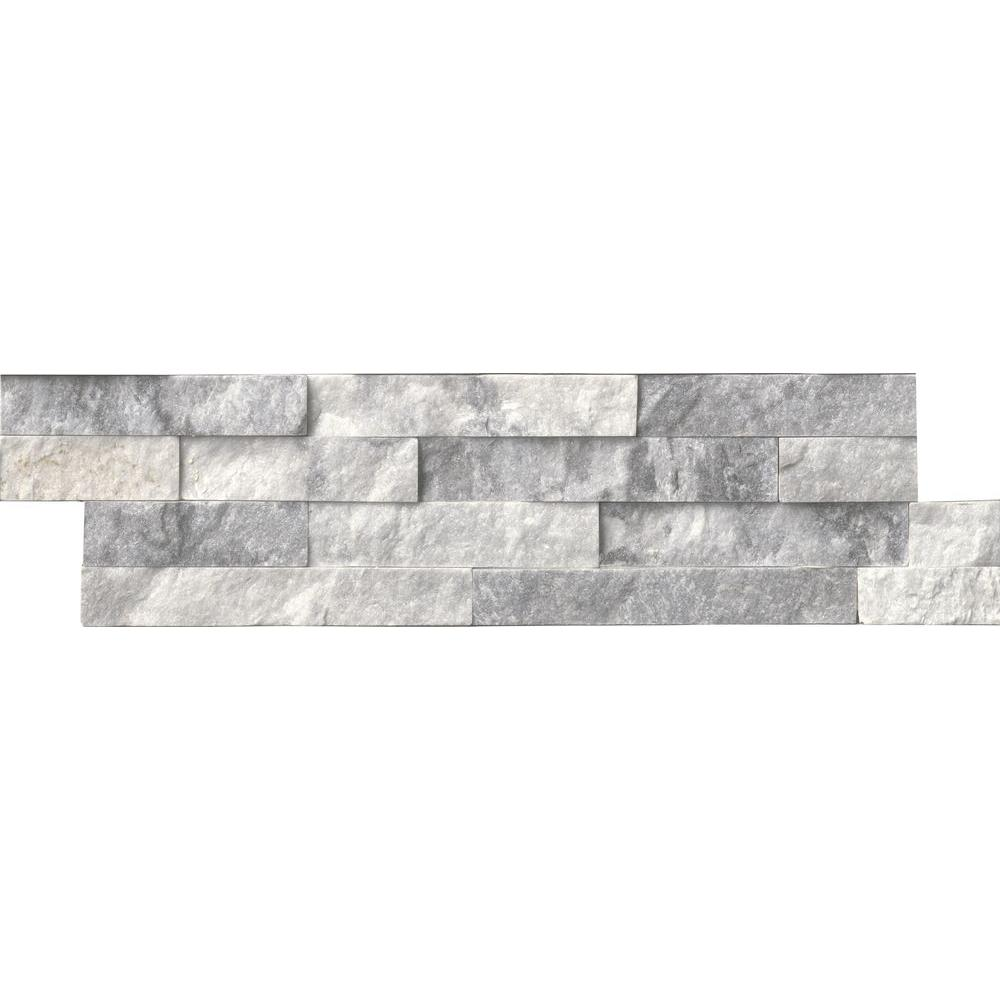 MSI Alaska Gray Ledger Panel 6 in. x 24 in. Natural Marble Wall Tile (1 sq. ft.)