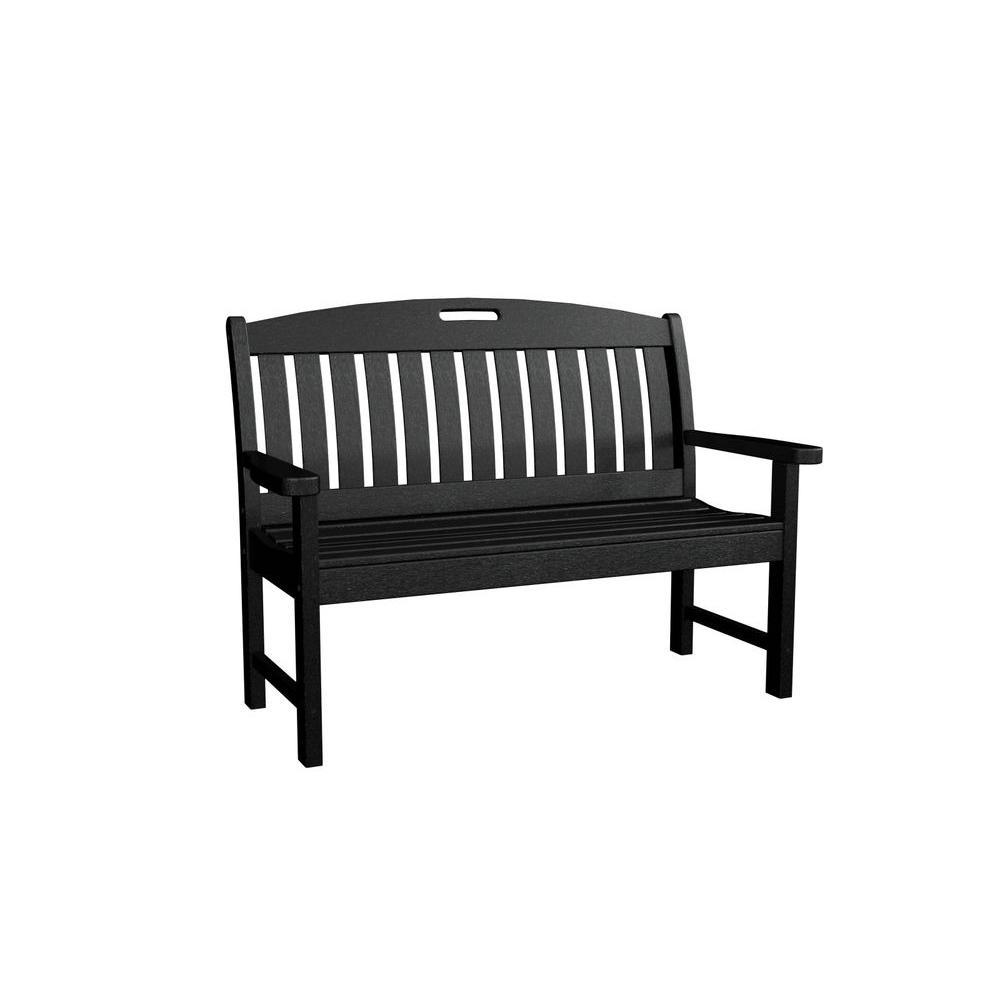 Nautical 48 in. Black Plastic Outdoor Patio Bench