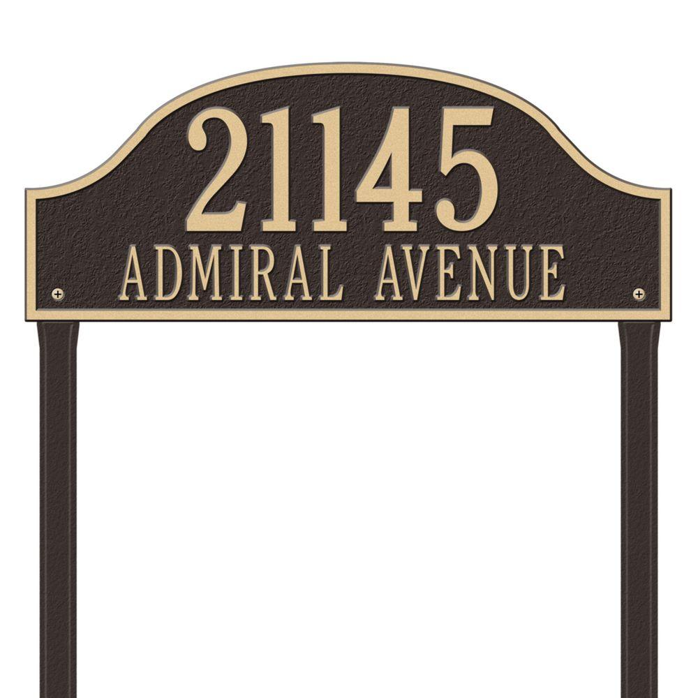 Admiral Estate Arch Bronze/Gold Lawn Two Line Address Plaque