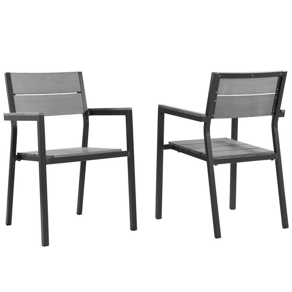 Maine Brown Aluminum Outdoor Patio Dining Chair in Gray (Set of