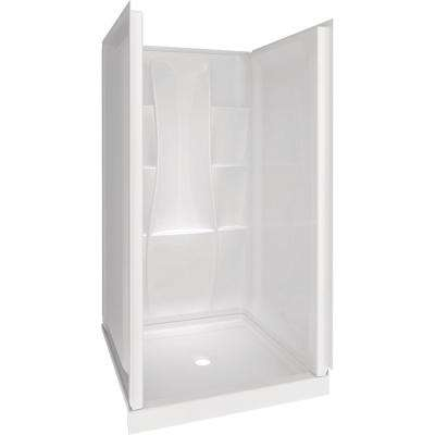 Classic 400 36 in. x 36 in. x 74 in. Shower Kit in White