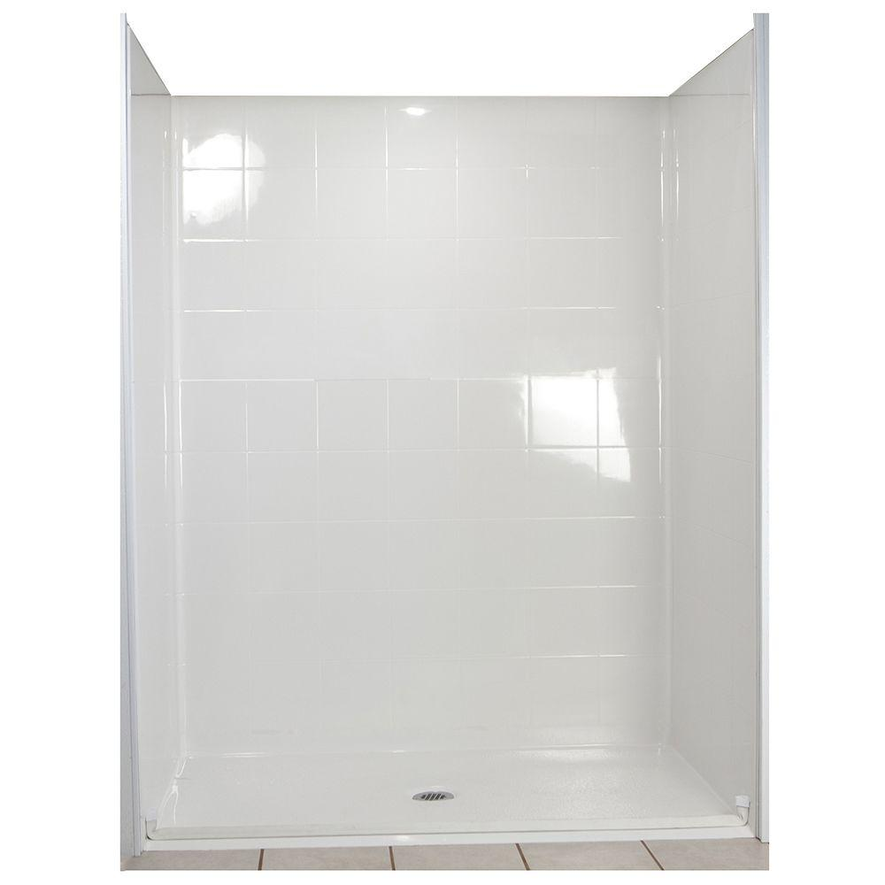 Ella Standard 31 in. x 60 in. x 77-1/2 in. 5-piece Barrier Free Roll In Shower System in White with Center Drain