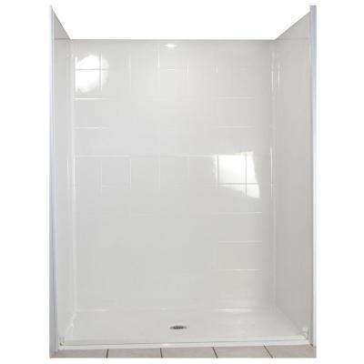Standard 31 in. x 60 in. x 77-1/2 in. 5-piece Barrier Free Roll In Shower System in White with Center Drain