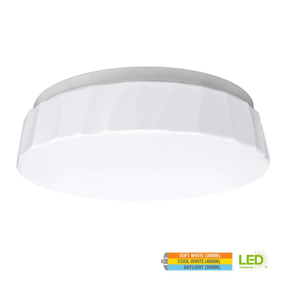 ETi Cliff Puff Style 11 in. Round White 64 Watt Integrated LED Flush Mount with Color Temperature Changing Feature