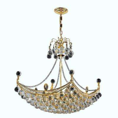 Empire Collection 8-Light Polished Gold and Crystal Chandelier