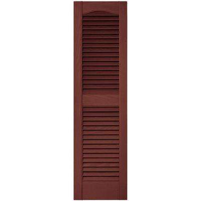 12 in. x 43 in. Louvered Vinyl Exterior Shutters Pair in #027 Burgundy Red