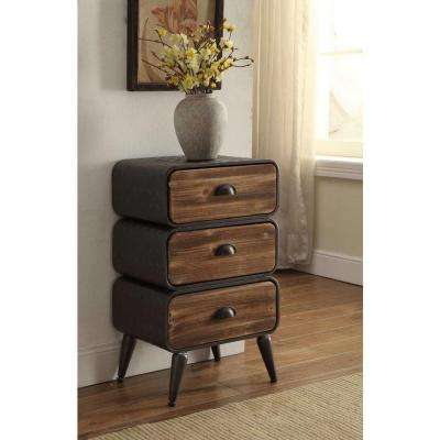 Urban Loft Rustic Natural Pine 3 Rounded Drawer Chest