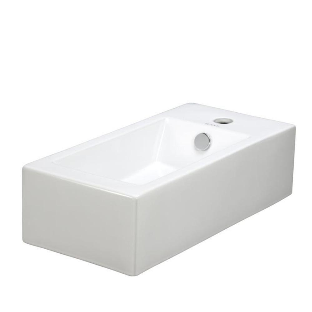 Elanti Wall Mounted Left Facing Rectangle Bathroom Sink In White Ec9899 L The Home Depot