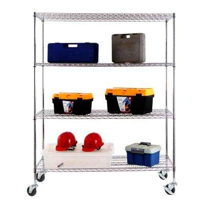 60 in. W x 24 in. D x 77 in. H NSF Multi-Purpose 4-Tier Chrome Wire Shelving Unit with Casters