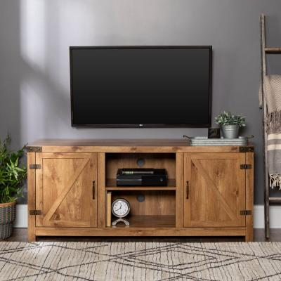 Barnwood 58 in. Barnwood TV Stand 65 in. with Adjustable Shelves