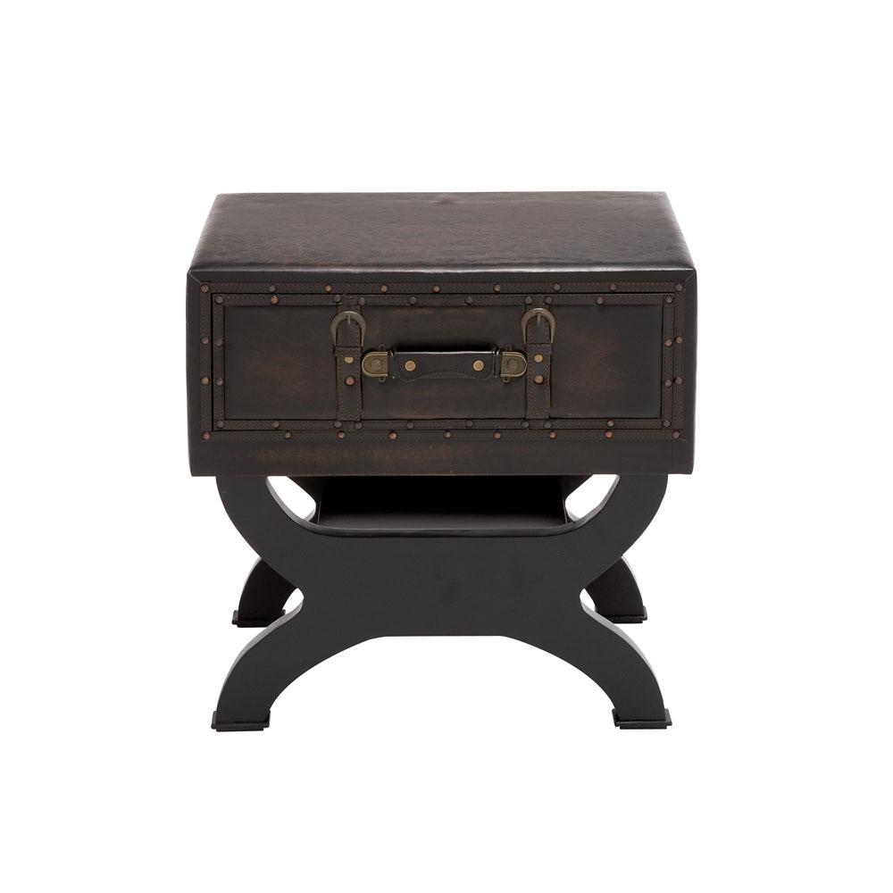 Espresso Faux Leather Trunk End Table