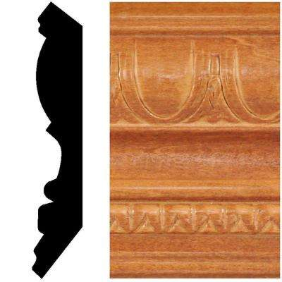 13/16 in. x 4-1/2 in. x 8 ft. Hardwood Stained Cherry Embossed Crown Moulding
