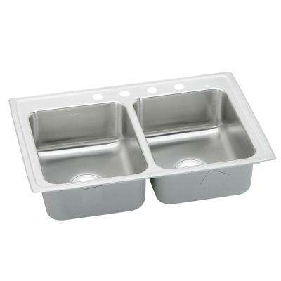 Lustertone Drop-In Stainless Steel 33 in. 4-Hole Double Bowl Kitchen Sink