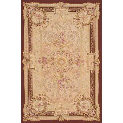 French Tapestry Dark Red, Ivory Wool Sumak 6 ft. x 9 ft. Area Rug