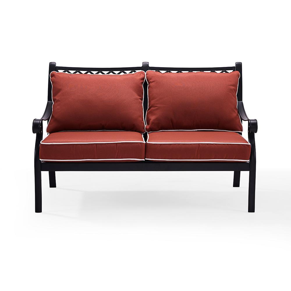 Portofino Cast Aluminum Outdoor Loveseat with Sangria Cushions