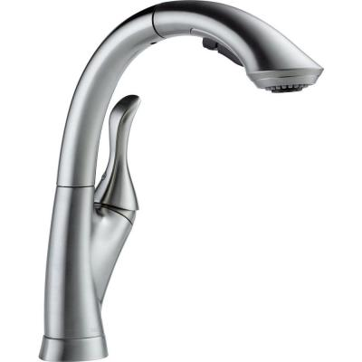 Linden Single-Handle Pull-Out Sprayer Kitchen Faucet With Multi-Flow And High Arc Waterfall Spout In Arctic Stainless