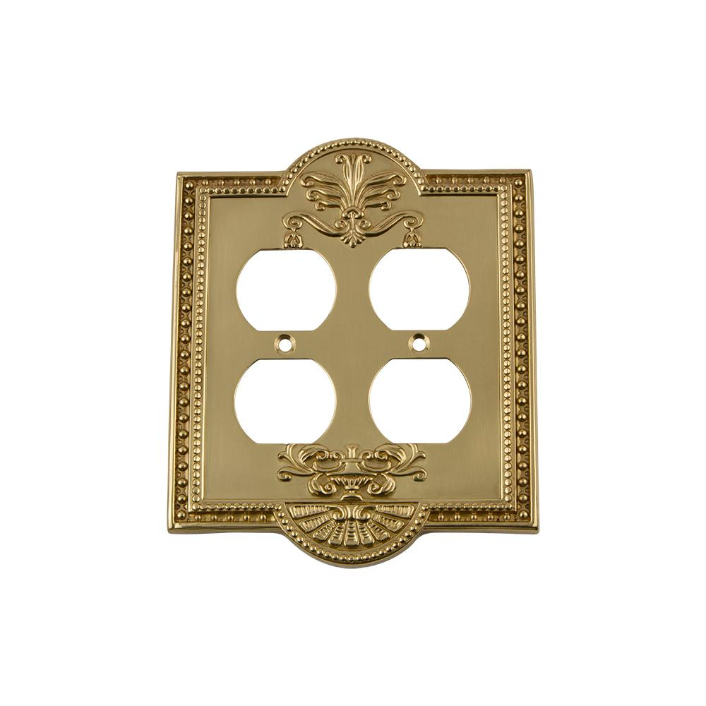 Meadows Switch Plate with Double Outlet in Unlacquered Brass