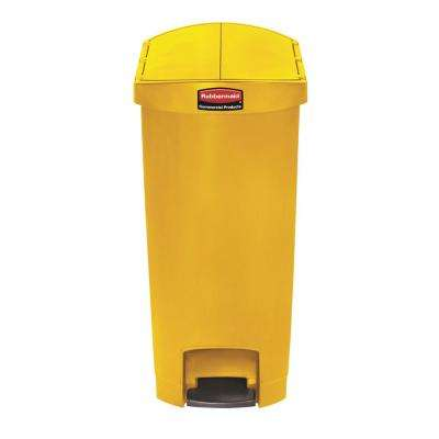 Slim Jim Step-On 13 Gal. Yellow Plastic End Step Trash Can