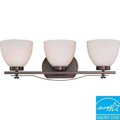 3-Light Hazel Bronze Vanity Fixture with Frosted Glass Shade