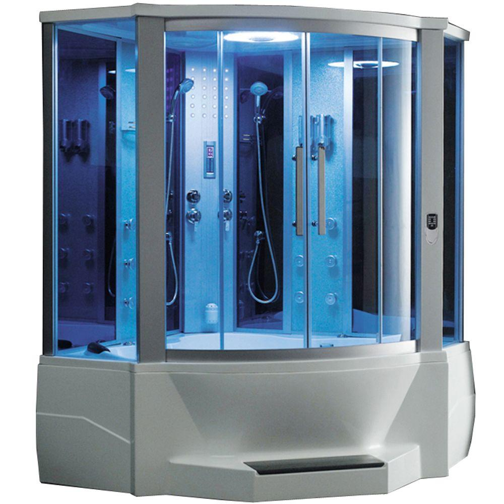 Ariel WS-701 65 in. x 65 in. x 90 in. Steam Shower Enclosure Kit with Jacuzzi in White
