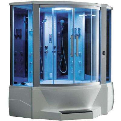 WS-701 65 in. x 65 in. x 85 in. Steam Shower Enclosure Kit with Jacuzzi in White