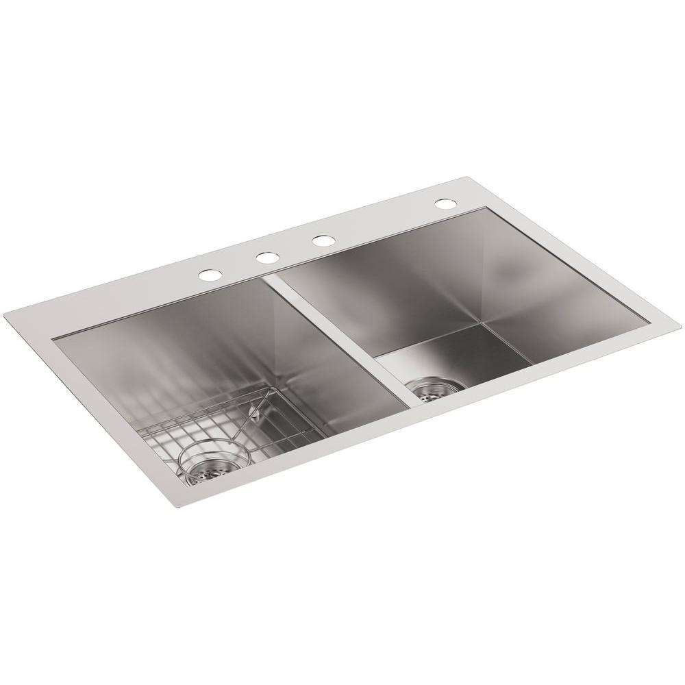 Kohler Vault Drop In Undermount Stainless Steel 33 In 4 Hole Double Basin Kitchen Sink With Basin Rack