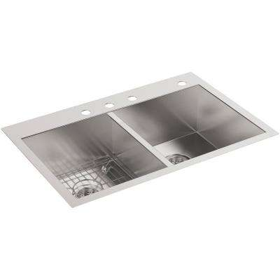 Vault Drop-In/Undermount Stainless Steel 33 in. 4-Hole Double Basin Kitchen Sink with Basin Rack