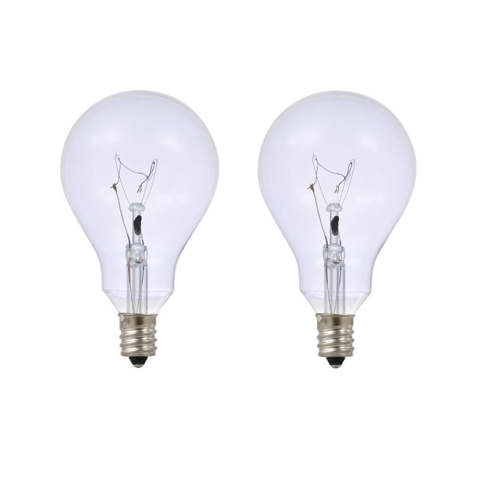 Sylvania 60 Watt A15 Fan Clarity Clear Candelabra Incandescent Light Bulb 2 Pack 10509 The Home Depot