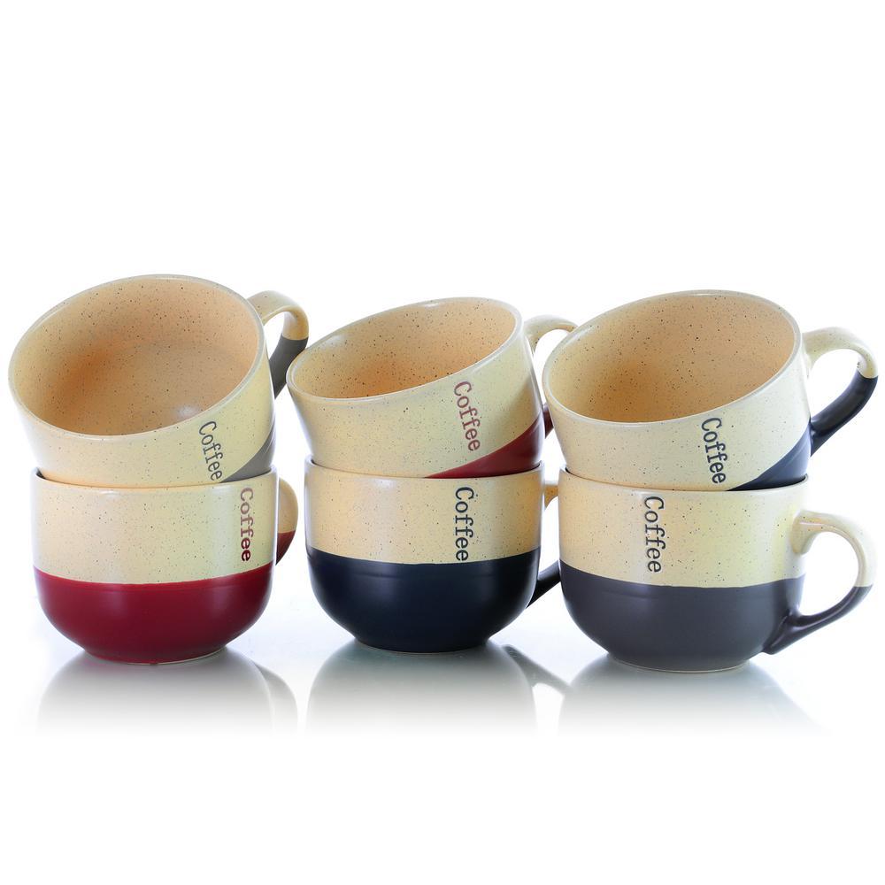 Elama Latte Loft 18 oz. Assorted Color Mugs (Set of 6)