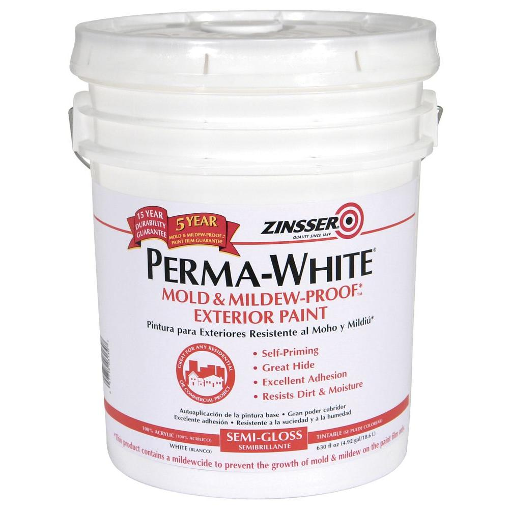 Zinsser 5 gal perma white mold and mildew proof white satin exterior paint 3100 the home depot - Zinsser exterior paint pict ...