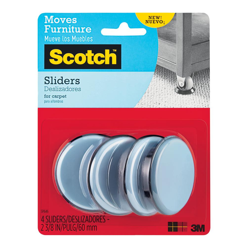 3M Scotch 2-3/8 in. Gray/Black Round Reusable Furniture Sliders (4-Pack)