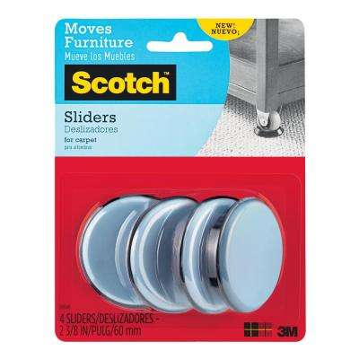 2-3/8 in. Gray/Black Round Reusable Furniture Sliders (4-Pack)