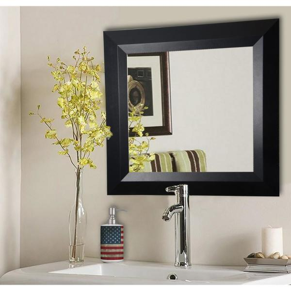 25.5 in. x 25.5 in. Solid Black Angle Square Vanity Wall