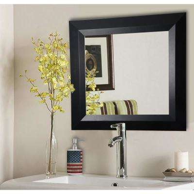 21.5 in. x 21.5 in. Solid Black Angle Square Vanity Wall Mirror