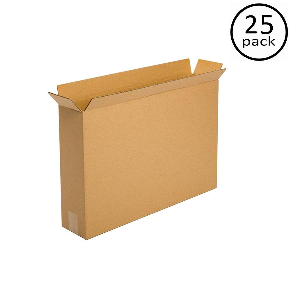 Plain Brown Box 24 in. x 5 in. x 18 in. 25 Moving Box Bundle