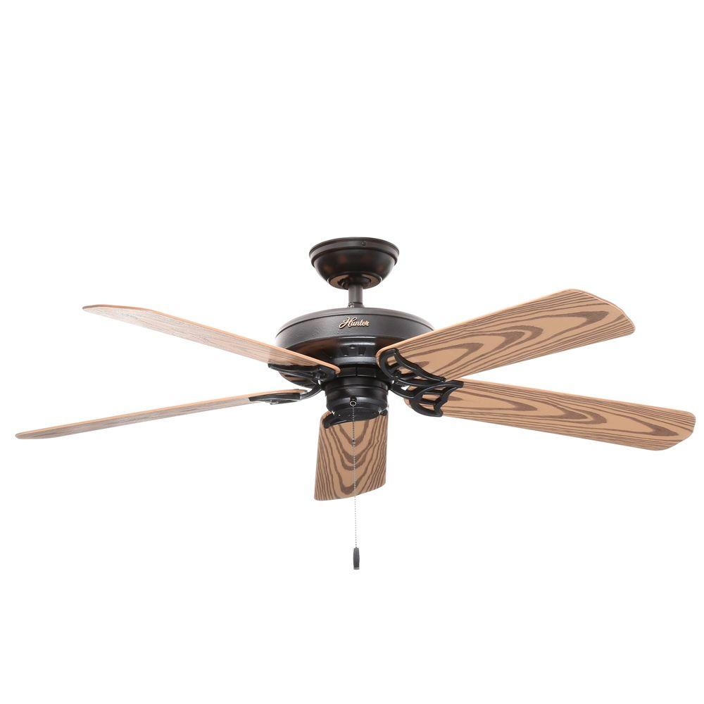 Hunter Bridgeport 52 in. Indoor/Outdoor Black Damp Rated Ceiling Fan