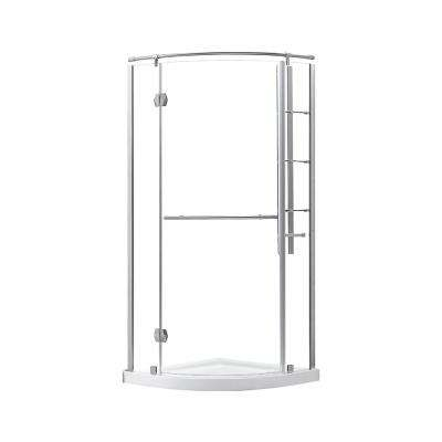 Glamour 32 in. x 73.90 in. Semi-Frameless Corner Hinged Shower Door in Satin Nickel