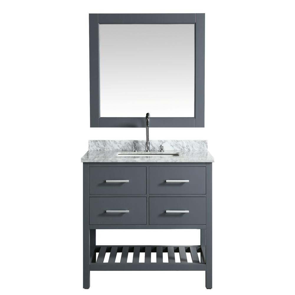 Design Element London 36 in. W x 22 in. D Vanity in Gray with Marble Vanity Top in Carrera White with White Basin and Mirror