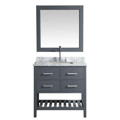 London 36 in. W x 22 in. D Vanity in Gray with Marble Vanity Top in Carrera White with White Basin and Mirror