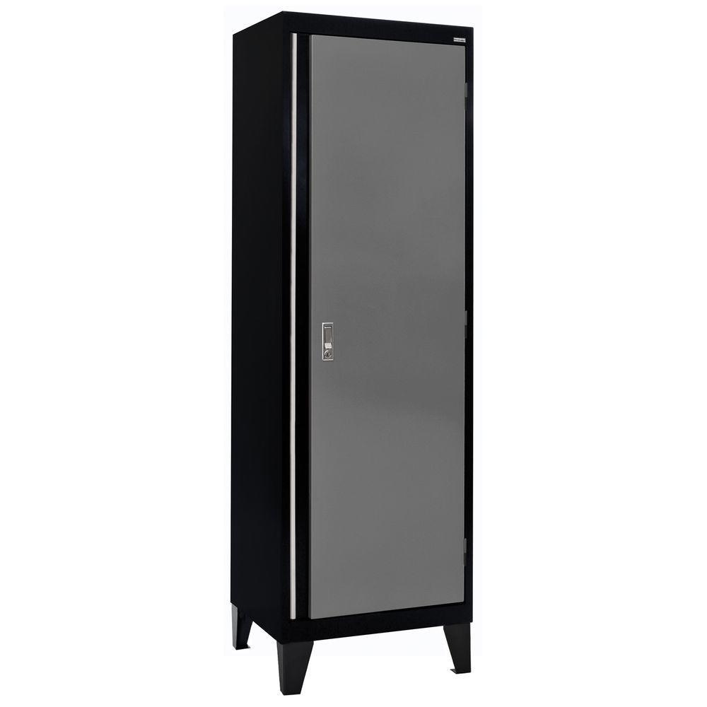 24 in. W x 18 in. D x 79 in. H Modular Steel Single Door Cabinet, Full Pull in Black/Charcoal