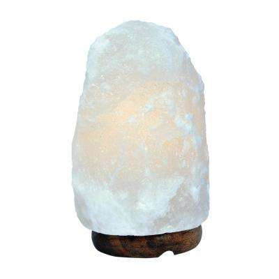 7 in. 3-5 lbs. White Himalayan Salt Lamp with Wood Base