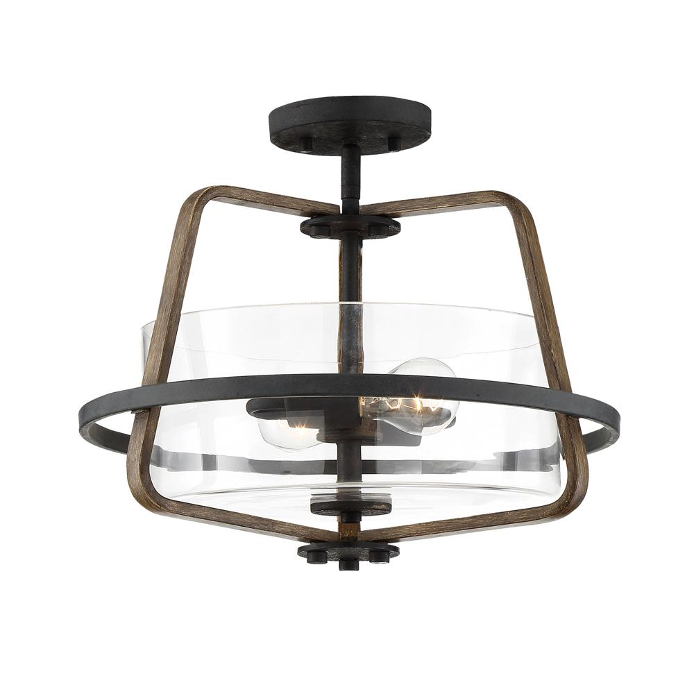 Designers Fountain Ryder 16.5 in. 2-Light Forged Black Interior Semi Flush Mount with Clear Glass Shade