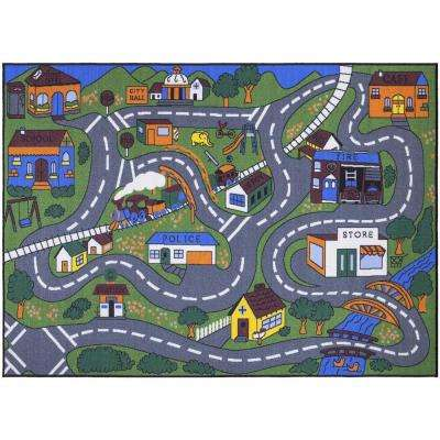 Jenny Collection Grey Road Traffic Design 7 ft. 10 in. x 9 ft. 10 in. Non-Slip Kids Area Rug