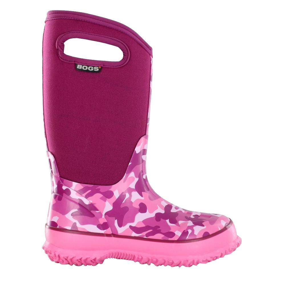 BOGS Classic Camo Handles Kids 10 in. Size 3 Pink Rubber with Neoprene Waterproof Boot